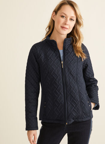 Weatherproof - Diamond Quilt Coat, Blue,  coat, spring coat, zipper, long sleeves, quilt coat, quilted coat, spring 2020, summer 2020, weatherproof