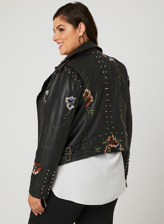 Frank Lyman - Floral Embroidered Faux Leather Jacker, Black, hi-res