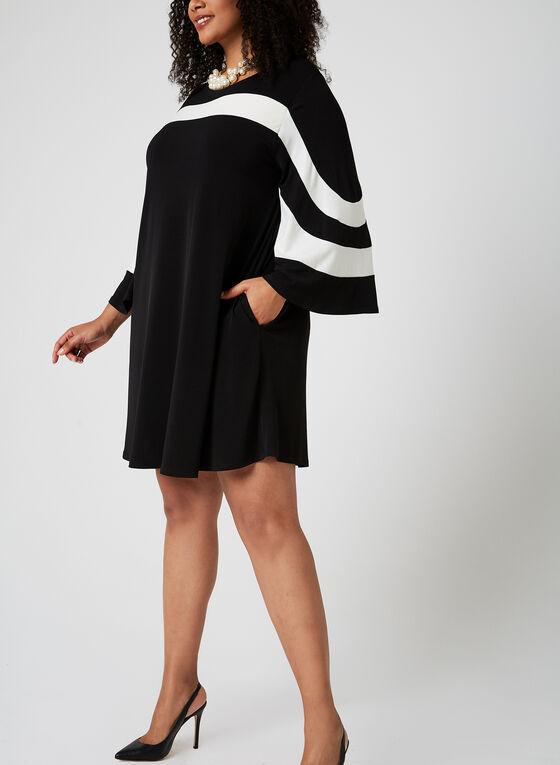 Nina Leonard - Robe droite à manches cloche, Noir, hi-res