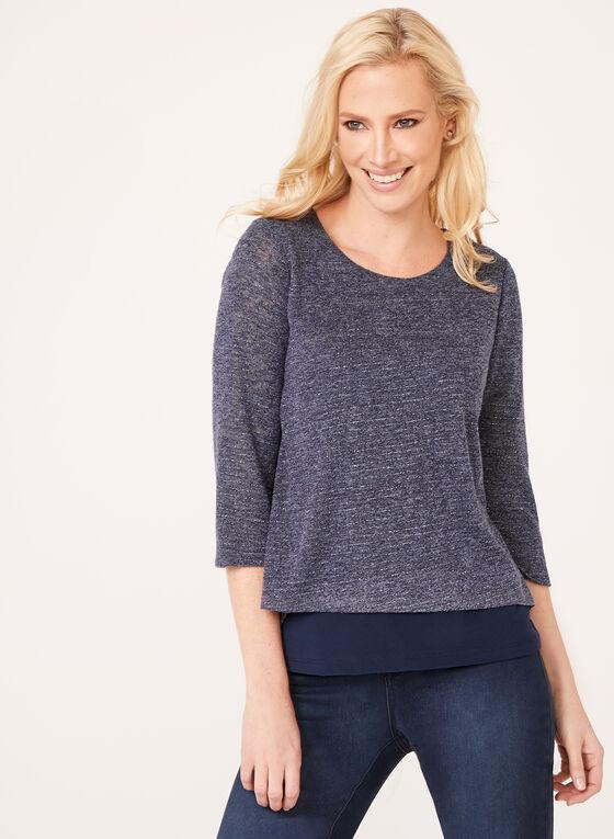 Blouse avec tricot brillant fendu au dos, Bleu, hi-res