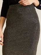 Shimmer Elastic Waist Pencil Skirt, Black