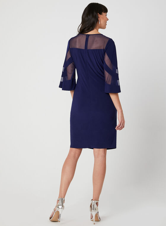 Crystal Detail Illusion Neck Dress, Blue