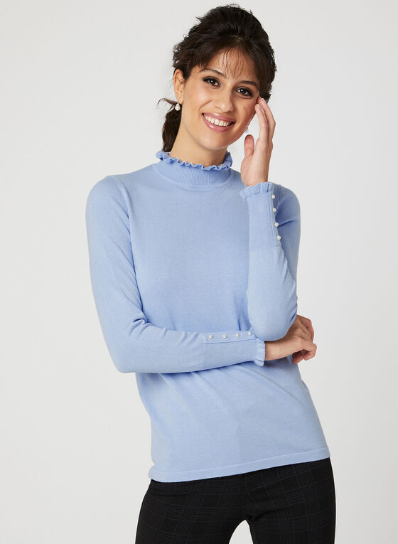Ruffle Trim Mock Neck Sweater, Blue, hi-res