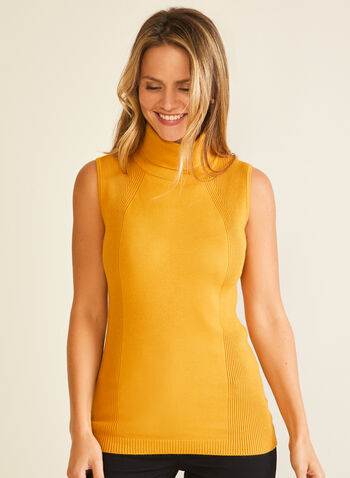Sleeveless Turtleneck Sweater, Yellow,  sweater, sleeveless, turtleneck, rib knit, fall winter 2020