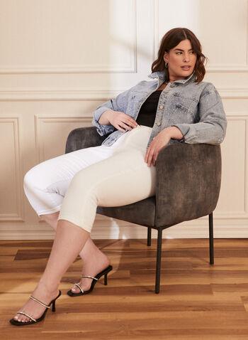 Joseph Ribkoff - Veste en jean avec cristaux, Bleu,  veste, jean, denim, col chemisier, manches longues, boutons, poches, cristaux, printemps été 2021