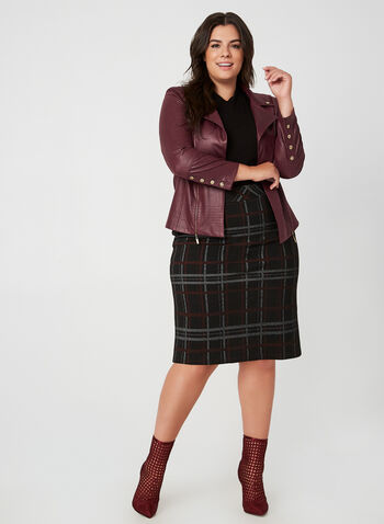 Veste à col cranté en faux cuir, Rouge, hi-res,  manches longues, ouvert, détails zippés, clous, faux cuir, simili cuir, automne hiver 2019