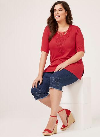 Elbow Sleeve Crochet Detail Top, Red, hi-res