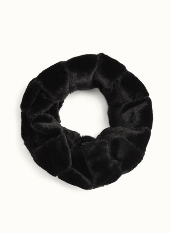 Rabbit Fur Tube Scarf , Black, hi-res