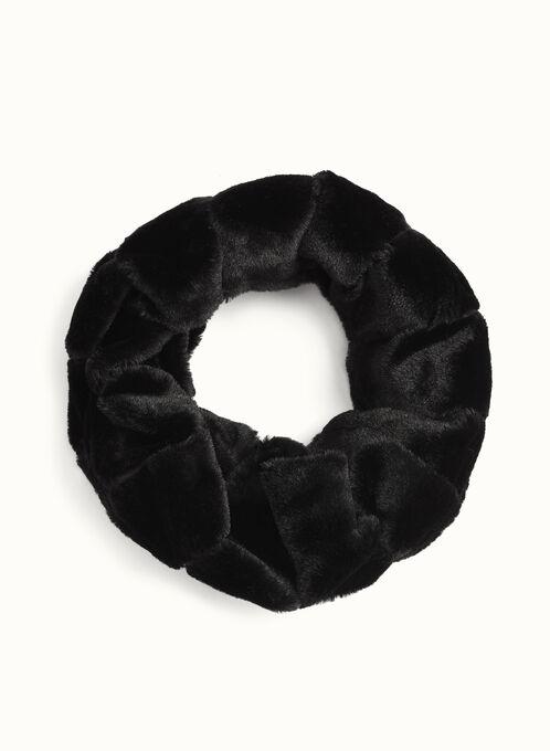 Rabbit Fur Tube Scarf , Black, hi-res