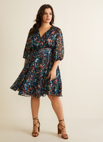 Marée pour toi - Printed Wrap Dress, Blue,  spring summer 2020, 3/4 sleeves, wrap silhouette, chiffon, silk, abstract print