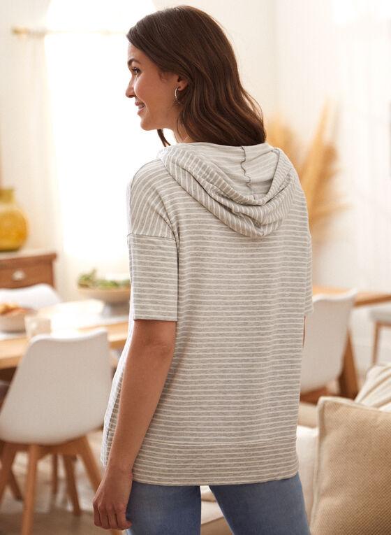 Stripe Print Hooded T-Shirt, Grey