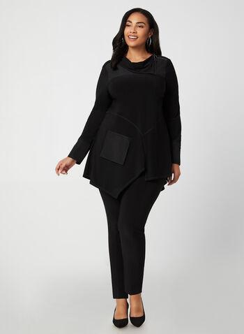 Joseph Ribkoff - Asymmetrical Tunic, Black, hi-res,  canada, long sleeves, tunic, top, asymmetrical top, zippers, comfortable, cowl neck, fall 2019, winter 2019