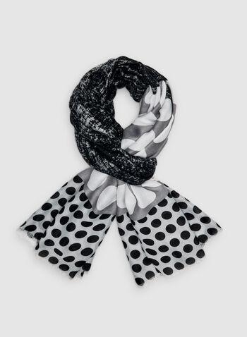 Foulard oblong à motif pois, Gris, hi-res,  foulard, pois, oblong, automne hiver 2019