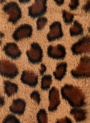 Leopard Print Faux Fur Scarf, Brown,  scarf, leopard print, faux fur, fall 2019, winter 2019