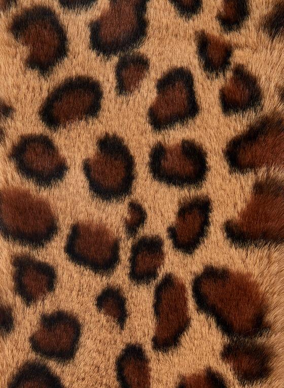 Leopard Print Faux Fur Scarf, Brown