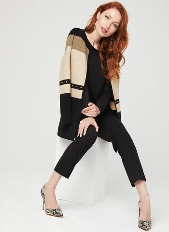 T-shirt à manches longues et bordure satinée, Noir, hi-res