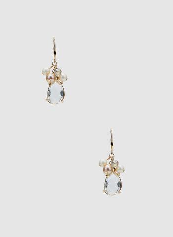 Pearl Cluster Dangle Earrings, Yellow, hi-res