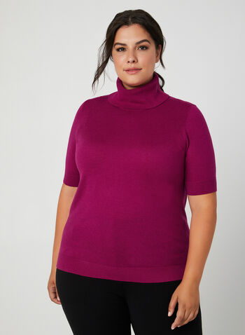 Wool Blend Sweater , Multi, hi-res,  wool blend, cowl neck, fine knit, short sleeve, sweater, fall 2019, winter 2019