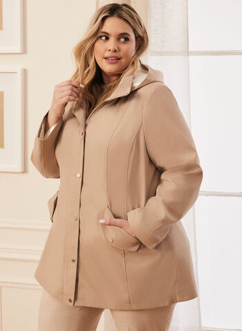 Removable Hood Raincoat, Brown,  coat, raincoat, rainwear, hood, zipper, button, pockets, high collar, spring summer 2020