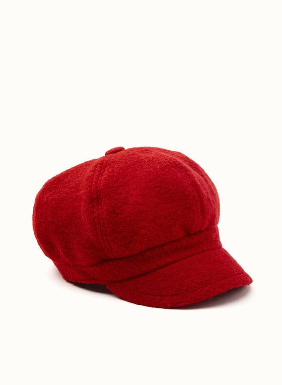 Casquette gavroche en laine et polaire, Rouge, hi-res