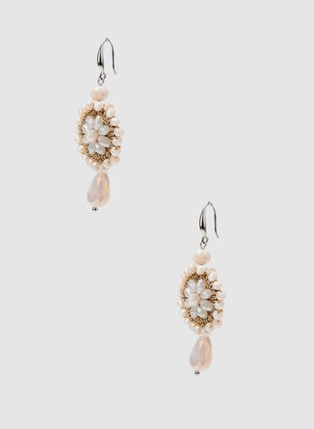 Mandala Dangle Earrings, Off White, hi-res