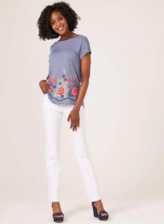 T-shirt rayé à appliques florales, Bleu, hi-res