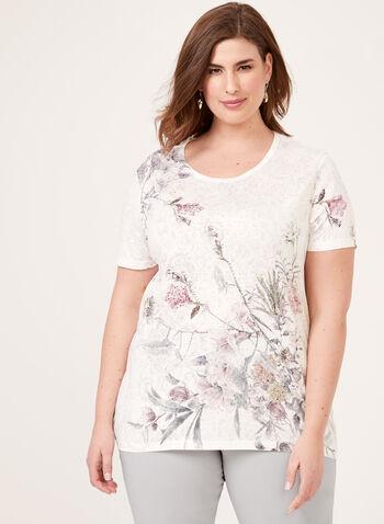 T-shirt floral avec dos ajouré en crochet, Rouge, hi-res