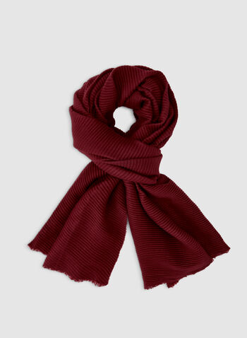 Pleated Pashmina Scarf, Red,  pashmina, pleated, fall 2019, winter 2019, soft