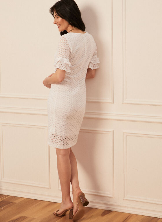 Ruffle Sleeve Lace Dress, White