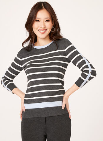 Crew Neck Stripe Print Sweater, Grey, hi-res