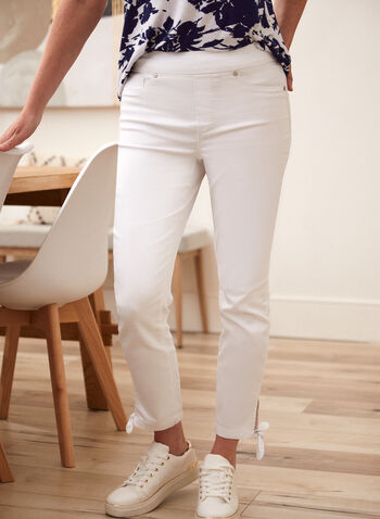 Tie Detail Pants, White,  spring summer 2021, made in Canada, bottoms, pull on, straight fit, pocketed, knot detail cuffs,