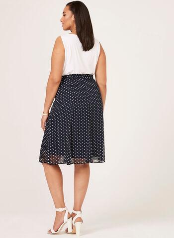 Polka Dot Print A-Line Chiffon Skirt, Blue, hi-res