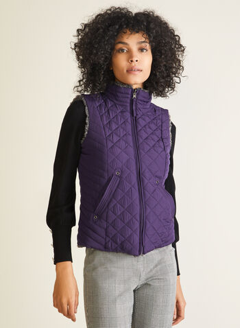 Weatherproof - Reversible Quilted Vest, Purple,  vest, sleeveless, quilted, faux fur, pockets, fall winter 2020