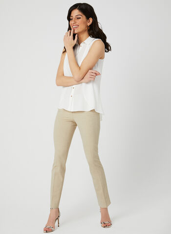 Sleeveless Button Up Blouse, Off White, hi-res