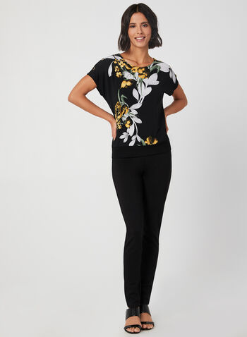 Floral Print Drop Shoulder Top, Black, hi-res,  floral print, jersey, short sleeves, boat neck, buttons, fall 2019, winter 2019