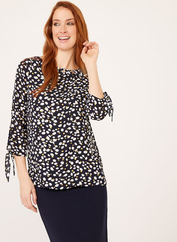 Abstract Petal Print Popover Blouse, Blue, hi-res