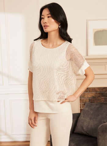 Double Layer Crochet Top, White,  spring summer 2021, tops, tees, layers, see through, made in canada, short sleeve, metallic fiber