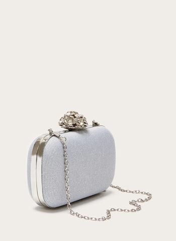 Pochette métallisée avec fermoir fleur, Argent, hi-res