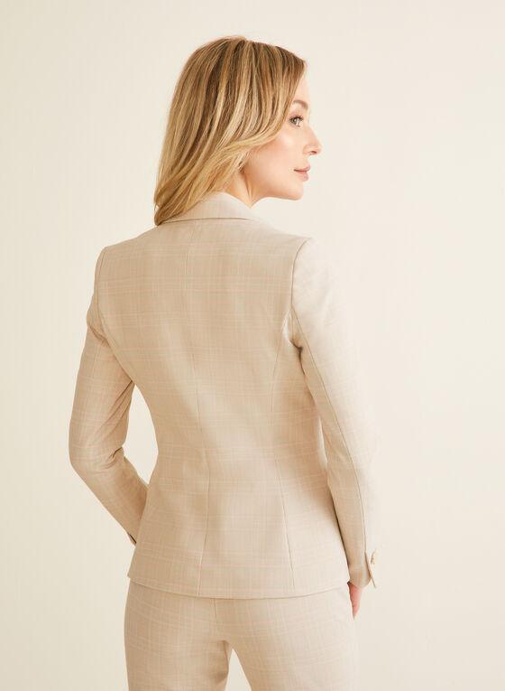 Notch Collar Tartan Print Jacket, White