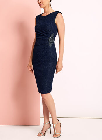 Glitter Knit Beaded Appliqué Dress, , hi-res