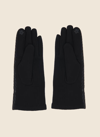 Gants à motif chevrons, Noir,  boucle, imprimé, ton sur ton, automne hiver 2020