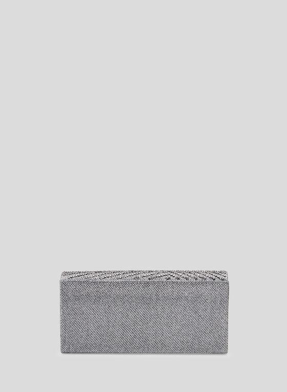 Rhinestone Detail Envelope Clutch, Grey, hi-res