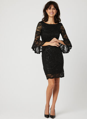 Sequin Lace Angel Sleeve Dress, Black, hi-res