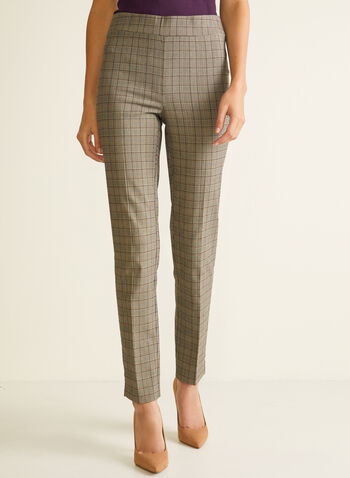 Tartan Print Pull-On Pants, Brown,  pants, straight, pull-on, tartan, spring summer 2020