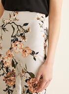 Pantalon coupe cité à fleurs, Gris