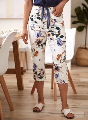 Floral Denim Capri Pants, White,  spring summer 2021, made in Canada, pants, bottoms, capri, capris, denim, jeans, floral, floral print, high waist, high rise, 5 pockets