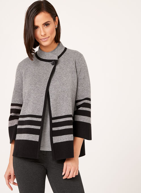 Double Knit Stripe Print Cardigan, Grey, hi-res