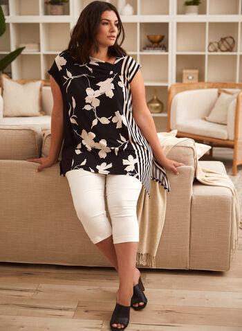 Asymmetric Floral Stripe Motif Top, Black,  spring summer 2021, made in Canada, asymmetric, asymmetrical, floral, stripe print, striped, floral print, motif, scoop neck, cap sleeve, short sleeve, blouse, side slits, top