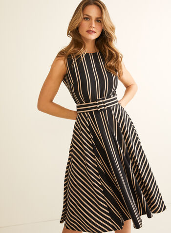 Stripe Print Belted Dress, Black,  Spring summer 2020, dress, day dress, fit & flare silhouette, stripe print, sleeveless, belted