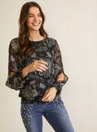 Floral Print Slit Sleeve Blouse, Blue